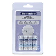 Beadalon Crimp Bead Variety Pack (0.8mm, 1.3mm, 1.5mm, 1.8mm) argenté