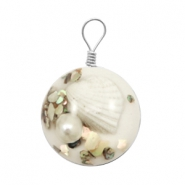 Pendentifs avec coquille 20mm blanc
