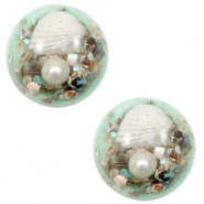 Cabochon basique plat 20mm coquille vert turquoise