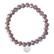 Bracelets Sisa perles à facettes 8x6mm (breloque en acier inox) Dark grape purple-pearl shine coating