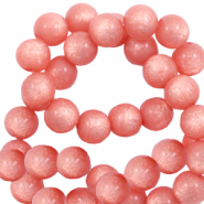 Perles Super Polaris rond 8 mm shiny Rose corail brûlé