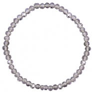Bracelets perles à facettes 4x3mm Grey crystal-pearl shine coating