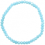 Bracelets perles à facettes 4x3mm Light blue-pearl shine coating
