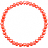 Bracelets perles à facettes 6x4mm Coral orange-pearl shine coating