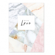 Cartes à bijoux 'with love' Blanc cassé-rose