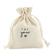 "Sachet à bijoux en lin ""for you"" Blanc cassé"