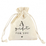 "Sachet à bijoux en lin ""a gift for you"" Blanc cassé"