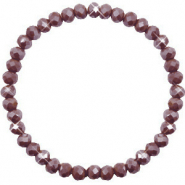 Bracelets perles à facettes 6x4mm Rocky road brown-pearl shine coating