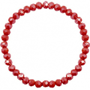 Bracelets perles à facettes 6x4mm Chillipeper red-pearl shine coating