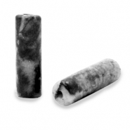 Pierres naturelles perles tube Noir anthracite