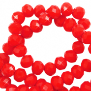 Perles à facettes 8x6mm disque Rouge flamme-Pearl Shine Coating