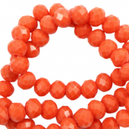 Perles à facettes 8x6mm disque Rouge tangerine tango-Pearl Shine Coating