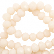 Perles à facettes 8x6mm disque Beige vanille-Pearl Shine Coating