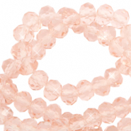 Perles à facettes 6x4mm disque Rose pêche-Pearl Shine Coating