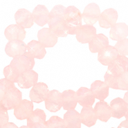 Perles à facettes 4x3mm disque Rose corail cristal-Pearl Shine Coating