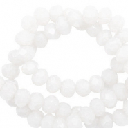 Perles à facettes 6x4mm disque Blanc lumineux-Pearl Shine Coating