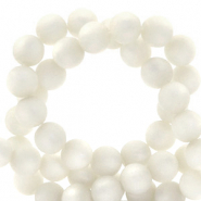 Perles Super Polaris rond 8mm mat Blanc brillant