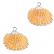 Perles coquillage specials Coque Argenté-Orange nectarine