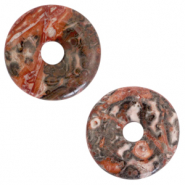 Pierres naturelles pendentifs disc Rouge gris multicolore