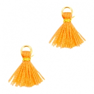 Pompons mini style Ibiza doré-orange corail