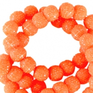 Perles scintillantes 6mm orange néon