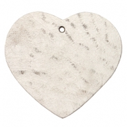 DQ heart leather charms  Country grey