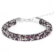 Bracelets Crystal Diamond 8mm amethyst foncé-anthracite