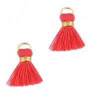 Pompons style Ibiza 1.5cm doré-vermillion rouge corail orange