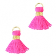 Pompons style Ibiza 1.5mm doré-rose fluo