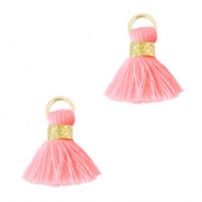 Pompons style Ibiza 1.5mm doré-rose fluo clair
