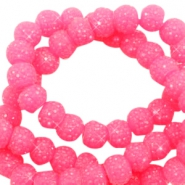 Perles scintillantes 8mm rose bonbon