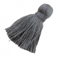 Pompons style Ibiza 4.5cm gris anthracite